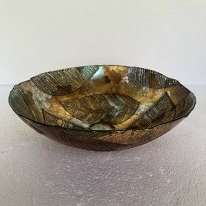 Layered Leaf Motiff Metallic Glass Bowl